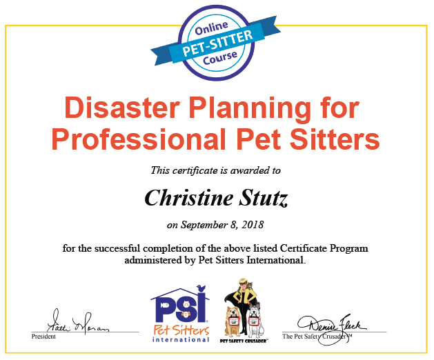disaster planning for pet sitters